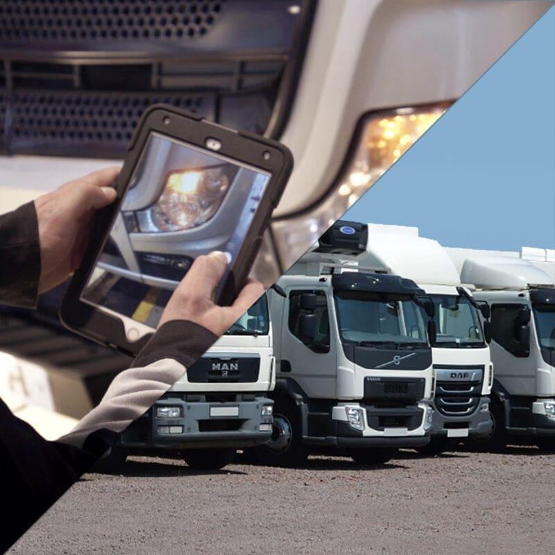 Fleet trucks and tablet using the fleet management system